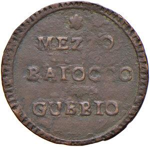 obverse: Gubbio. Repubblica romana (1798-1799). Mezzo baiocco CU gr. 3,81. Pagani 36d. Muntoni 63 var. II. Bruni 3 (Municipalità provvisoria). BB