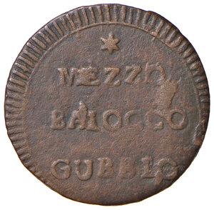 reverse: Gubbio. Repubblica romana (1798-1799). Mezzo baiocco CU gr. 3,81. Pagani 36d. Muntoni 63 var. II. Bruni 3 (Municipalità provvisoria). BB