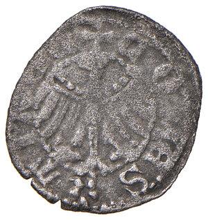 reverse: Merano. Federico IV conte (1406-1439). Quattrino MI gr. 0,59. CNTM cfr. 552b, ma tre punti sull'ala araldica sia d. che s. Molto raro. BB