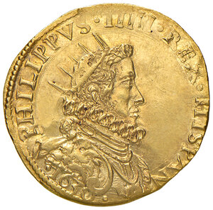 obverse: Milano. Filippo IV re di Spagna (1621-1665). Quadrupla 1630 AV gr. 13,24. Crippa 3/A. MIR 359/6. Rara. Migliore di SPL