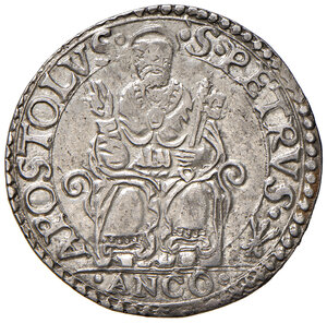reverse: Ancona. Pio IV (1559-1566). Testone AG gr. 9,54. Muntoni 49. Berman 1072. Dubbini-Mancinelli pag. 144 (2° tipo). MIR 1060/8. SPL/q.SPL