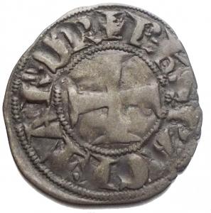 reverse: CHIARENZA. Filippo di Taranto (1307-1313). Denaro tornese. gr 0,66. mm 18,98. Gamb. 208. MI. BB+