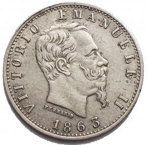 obverse: Savoia - Vittorio Emanuele II (1861-1878). 20 centesimi 1863 M. BB-SPL. Segni al rv