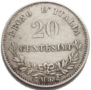 reverse: Savoia - Vittorio Emanuele II (1861-1878). 20 centesimi 1863 M. BB-SPL. Segni al rv