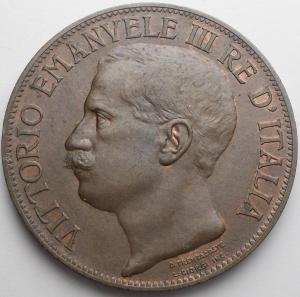 obverse: Savoia. Vittorio Emanuele III. 10 Centesimi 1911 Cu. Migliore di Spl. Residui di rame rosso