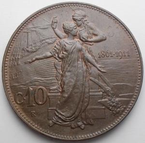 reverse: Savoia. Vittorio Emanuele III. 10 Centesimi 1911 Cu. Migliore di Spl. Residui di rame rosso