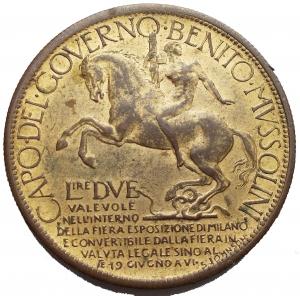 reverse: Savoia - Regno di Italia. Vittorio Emanuele III (1900-1943). 2 lire 1928 fiera di Milano. Mont. 09. AE dorato. SPL.