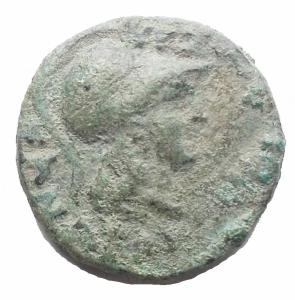 obverse: Mondo Greco - Macedonia. THESSALONIKE (Saloniki). AE-Tetrachalkon (168/31 ac) 19,2 mm. 5,49 g. d/ Athena a ds r/ Cavallo a ds. SNG Cop. -. BB++. Bellissima patina verde chiaro