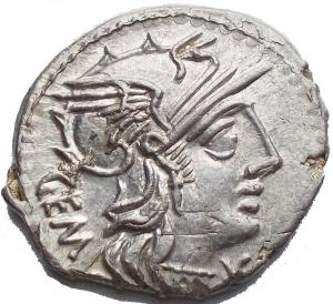 obverse: M. Aburius M.f. Geminus, Denario, Roma, 132 a.C., AR, (g 3,93, mm 18,91). d/Testa elmata di Roma a ds. dietro GEM davanti * r/ Il Sole in quadriga verso ds. tiene le redini ed un frustino; sotto M ABVRI; in ex. ROMA. Crawford 250/1; Aburia 6; Sydenham 487. Metallo lucente. q.fdc.