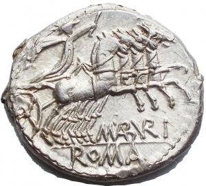reverse: M. Aburius M.f. Geminus, Denario, Roma, 132 a.C., AR, (g 3,93, mm 18,91). d/Testa elmata di Roma a ds. dietro GEM davanti * r/ Il Sole in quadriga verso ds. tiene le redini ed un frustino; sotto M ABVRI; in ex. ROMA. Crawford 250/1; Aburia 6; Sydenham 487. Metallo lucente. q.fdc.