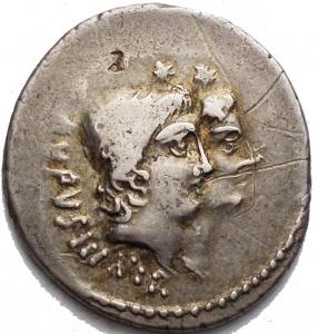 obverse: Mn. Cordius Rufus, Denario, Roma, 46 a.C., AR, (g 4,00, mm 19,7 21,6). Teste accollate dei Dioscuri a d., con pilei laureati; dietro, RVFVS III VIR, Rv. Venere stante verso s., ha Cupido sulla spalla e tiene scettro e bilancia; dietro, MN CORDIVS. Crawford 463/1a; Cordia 2; Sydenham 976. Leggera patina. bb+