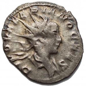 obverse: Varie - Divus Valerian II (died 258 AD). BI Antoninianus. Consecration issue. Colonia Agrippinensis (Cologne) mint. D/ DIVO VALERIANO CAES.  R/ CONSACRATIO. g 2,29.  mm 21,88. VF
