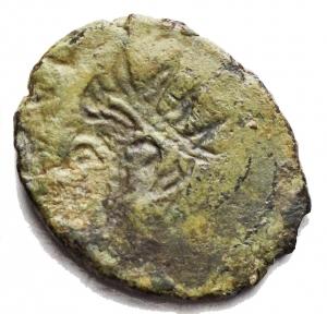 reverse: Varie - Impero Romano. Usurpatori delle Gallie. 3° Sec dc. Antoniniano con rovescio incuso g 1,6. Patina verde
