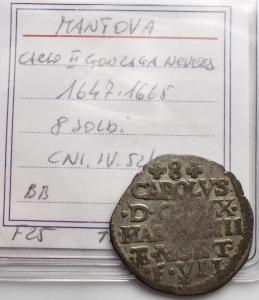 obverse: Zecche Italiane - Mantova. Carlo II Gonzaga Nevers. 1647-1665. 8 soldi