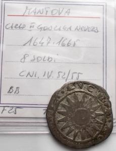 reverse: Zecche Italiane - Mantova. Carlo II Gonzaga Nevers. 1647-1665. 8 soldi