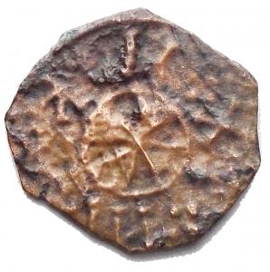 reverse: Messina. Ruggero II 1105-1154 Follaro?  D/ Ruggero stante R/ Croce entro cerchio. Sp. 78 (1/2 Follaro) Ae g 0,68