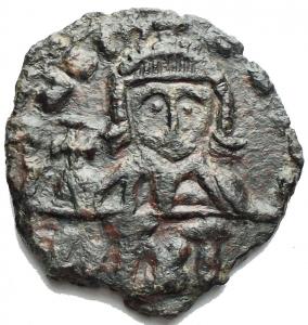 obverse: Leo III AD 717-741, with Constantine V, AE Follis (18,8 x 20,0 mm, 2.50 gram) Syracuse