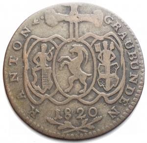 reverse: Monete del Mondo - Svizzera. 1 Batzen 1820
