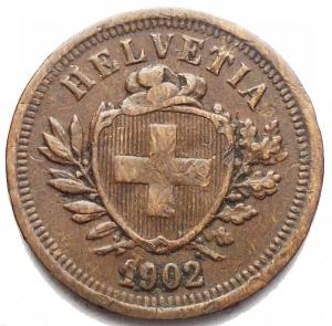 reverse: Monete del Mondo - Svizzera. 1 Rappen 1902