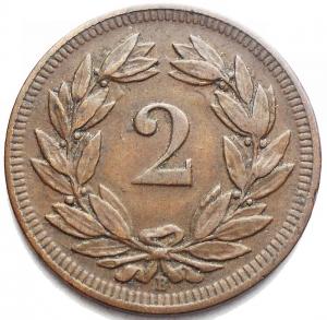 obverse: Monete del Mondo - Svizzera. 2 Rappen 1903