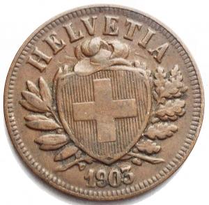 reverse: Monete del Mondo - Svizzera. 2 Rappen 1903