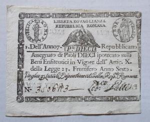 obverse: Cartamoneta - Repubblica Romana Anno 7 Repubblicano Dieci Paoli. Buon esemplare