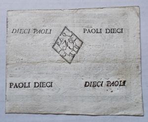 reverse: Cartamoneta - Repubblica Romana Anno 7 Repubblicano Dieci Paoli. Buon esemplare