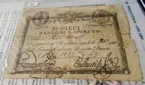 obverse: Cartamoneta - Repubblica Romana Dieci Paoli c