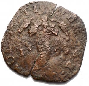 obverse: Napoli. Filippo III. Tornese con bastoni incriciati 1599. gr 4,5