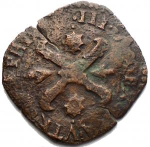 reverse: Napoli. Filippo III. Tornese con bastoni incriciati 1599. gr 4,5