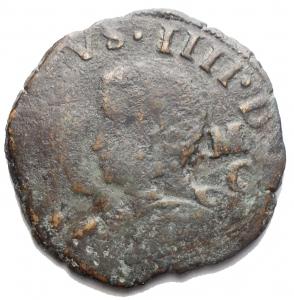 obverse: Zecche Italiane - Napoli. Filippo IV. 1621-1665. 9 Cavalli 1629. Ae. P.R. 83. Peso 6,16 gr. Diametro mm. 26,55.
