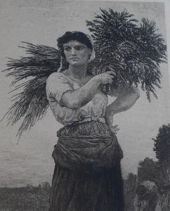 obverse: Jules Breton La Glaneuse Paysanne Gravure Martial Potémont 19e siècle