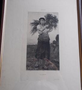 reverse: Jules Breton La Glaneuse Paysanne Gravure Martial Potémont 19e siècle