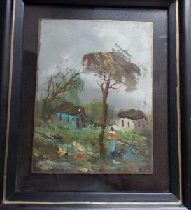 obverse: OLIO SU TAVOLA 18x24 Firmato Giusti. In cornice con vetro Anni 70 del XX° Secolo