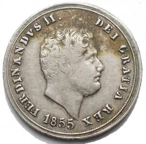 obverse: Napoli. Ferdinando II di Borbone (1830-1859). Carlino da 10 grana 1855 AG. Pagani 308. P.R. 168. MIR 514/6. Buon BB