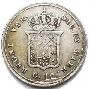 reverse: Napoli. Ferdinando II di Borbone (1830-1859). Carlino da 10 grana 1855 AG. Pagani 308. P.R. 168. MIR 514/6. Buon BB