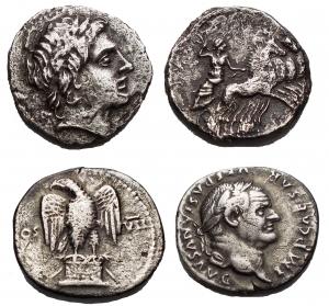 obverse: Lotti - Insieme di due esemplari  Gargilius, Ogulnius and Vergilius, Rome, c. 86 BC. AR Denarius (17,88mm, 3.22g). Head of Apollo Vejovis r., wearing oak wreath R/ Jupiter driving quadriga r., holding reins and preparing to hurl thunderbolt. Crawford 350A/2; RBW 1333; RSC 226. aVF  Vespasian AR Denarius. Rome, AD 76. IMP CAESAR VESPASIANVS AVG, laureate head of Vespasian right / Eagle standing facing on thunderbolt on garlanded altar, wings spread, head left; COS-VII across fields. RIC 847. 2,94g. 18,33 mm. Good Very Fine/Very Fine. Good portrait