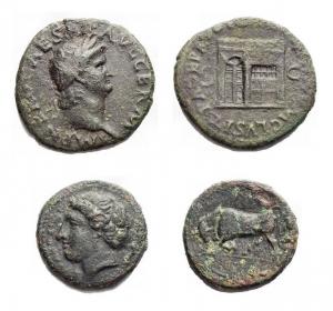 obverse: Lotti - Due esemplari in Ae  Nerone (54-68). Asse. D/ NERO CAESAR AVG GERM IMP. Testa laureata a destra. R/ PACE PR VBIQ PARTA IANVM CLVSIT SC. Tempio di Giano con porta a sinistra chiusa. gr. 9,58. mm 25,9. AE. qBB-BB. Patina verde.  Siracusa (ca 300 aC). Ae. Persefone a sn/ Toro a sn. gr 3,1. mm 16,3. BB+/BB
