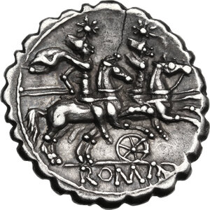 Six-spoked wheel series. AR Denarius, 209-208 BC (Sicily?)
