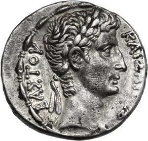 obverse: Augustus (27 BC - 14 AD). AR Tetradrachm, Antioch mint, Seleucis and Pieria. Dated year 30 of the Actian Era and COS XIII (2-1 BC)