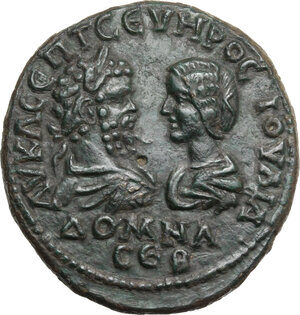 obverse: Septimius Severus (193-211) with Julia Domna. AE 29.5 mm Marcianopolis, Moesia Inferior