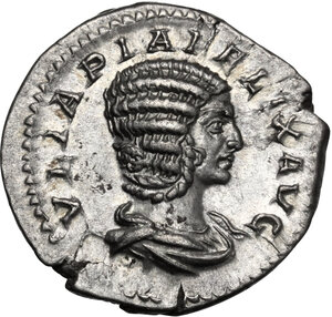 obverse: Julia Domna, wife of Septimius Severus (died 217 AD). AR Denarius, struck under Caracalla, c. 215-217 AD