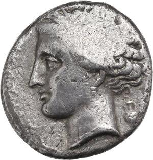 obverse: Northern Apulia, Arpi. AR Didrachm. Dazos magistrate (?), c. 325-275 BC