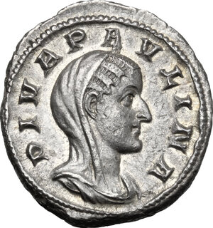 obverse: Paulina, wife of Maximinus I (died 235 AD). AR Denarius. Consecration issue, Rome mint, 236 AD