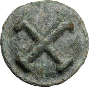 obverse: Northern Apulia, Luceria.  Light series. AE Cast Quincunx, c. 217-212 BC