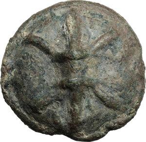 obverse: Northern Apulia, Luceria.  Light series. AE Cast Quadrunx, c. 217-212 BC