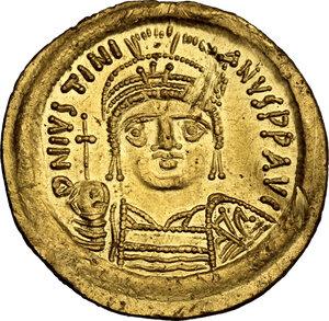 obverse: Justinian I (527-565). AV Solidus, Ravenna mint, 552-565 AD