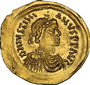 obverse: Justinian I (527-565). AV Tremissis, Ravenna mint