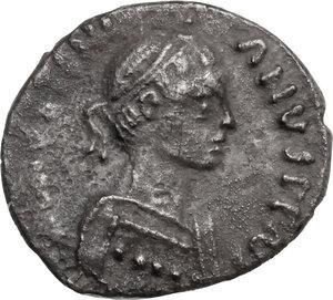 obverse: Justinian I (527-565). AR 250 Nummi, Ravenna mint