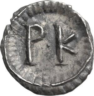 reverse: Justinian I (527-565). AR 120 Nummi, Ravenna mint